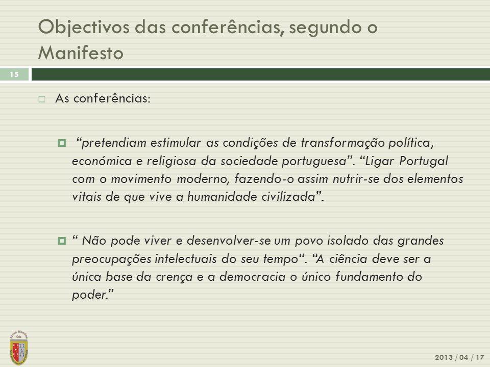 Objectivos das conferências, segundo o Manifesto