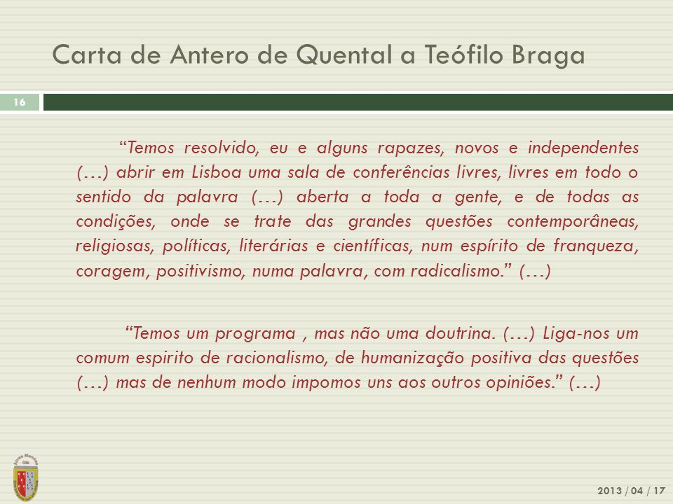 Carta de Antero de Quental a Teófilo Braga