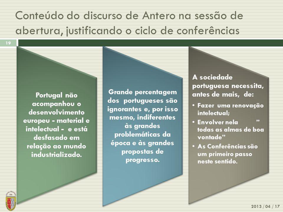 Conteúdo do discurso de Antero na sessão de abertura, justificando o ciclo de conferências