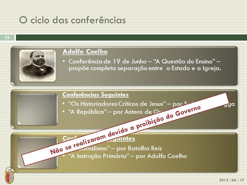 O ciclo das conferências
