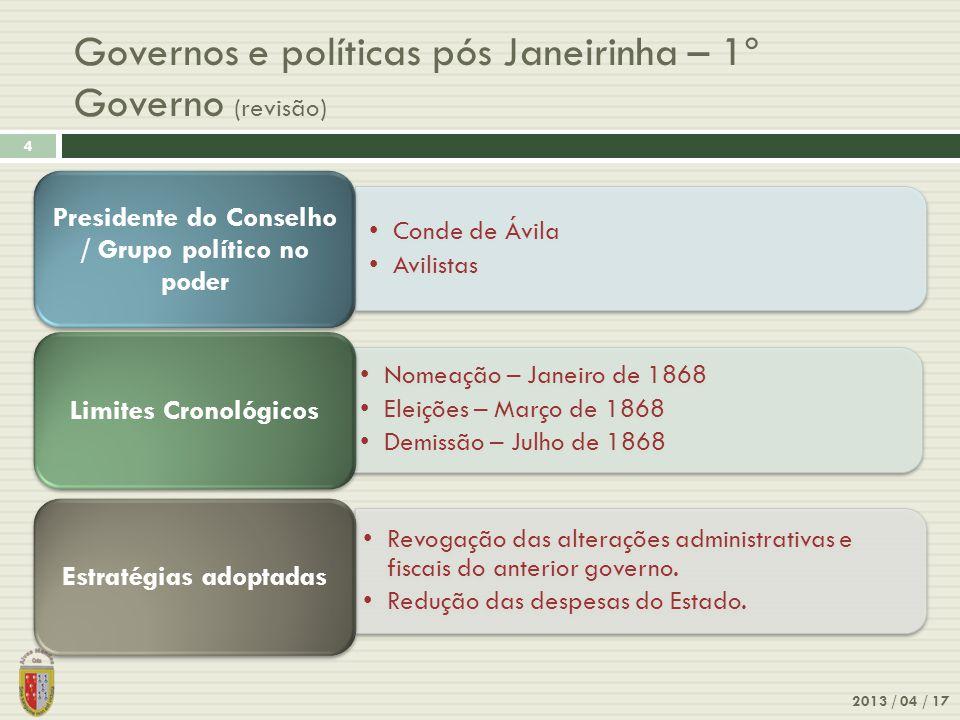 Governos e políticas pós Janeirinha – 1º Governo (revisão)
