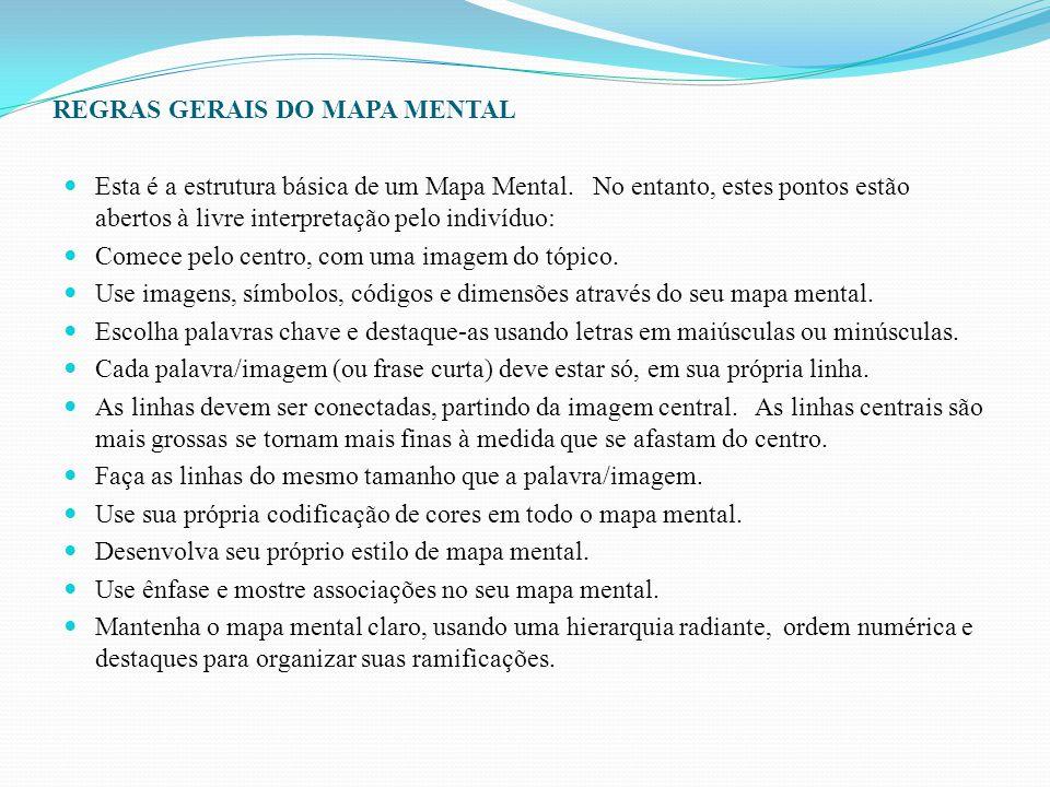 REGRAS GERAIS DO MAPA MENTAL