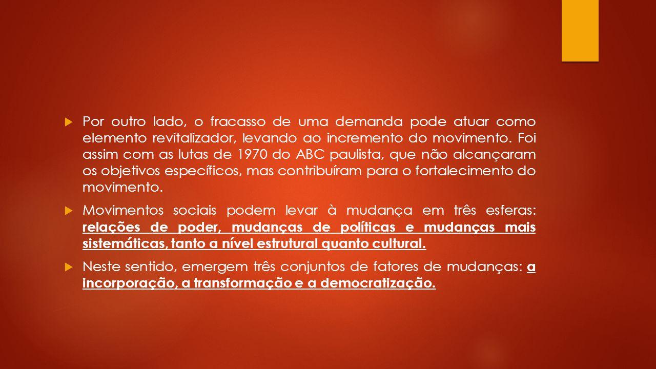 Por outro lado, o fracasso de uma demanda pode atuar como elemento revitalizador, levando ao incremento do movimento. Foi assim com as lutas de 1970 do ABC paulista, que não alcançaram os objetivos específicos, mas contribuíram para o fortalecimento do movimento.