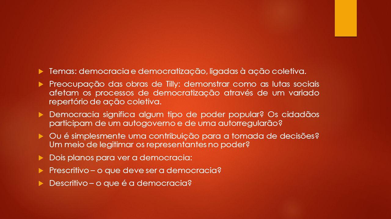 Temas: democracia e democratização, ligadas à ação coletiva.