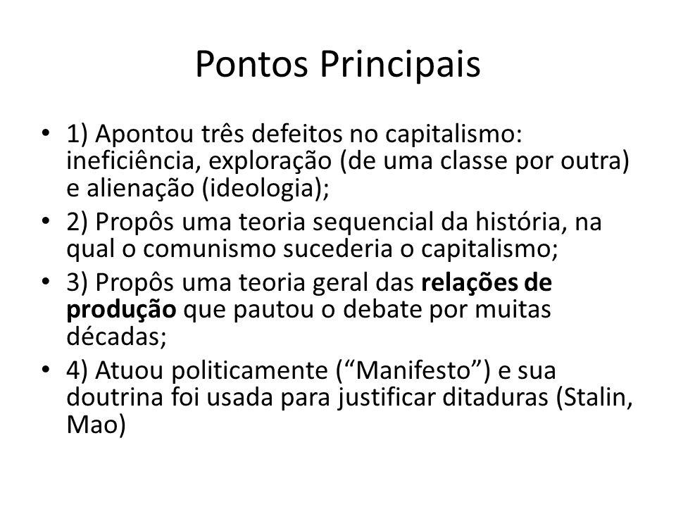 Pontos Principais 1) Apontou três defeitos no capitalismo: ineficiência, exploração (de uma classe por outra) e alienação (ideologia);