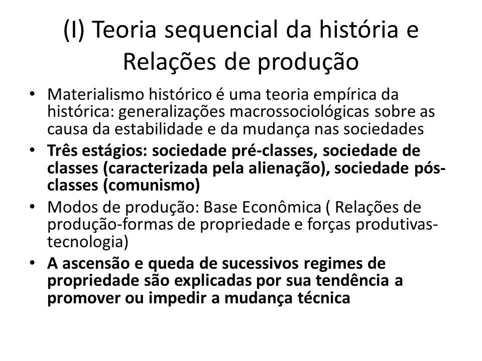 (I) Teoria sequencial da história e Relações de produção