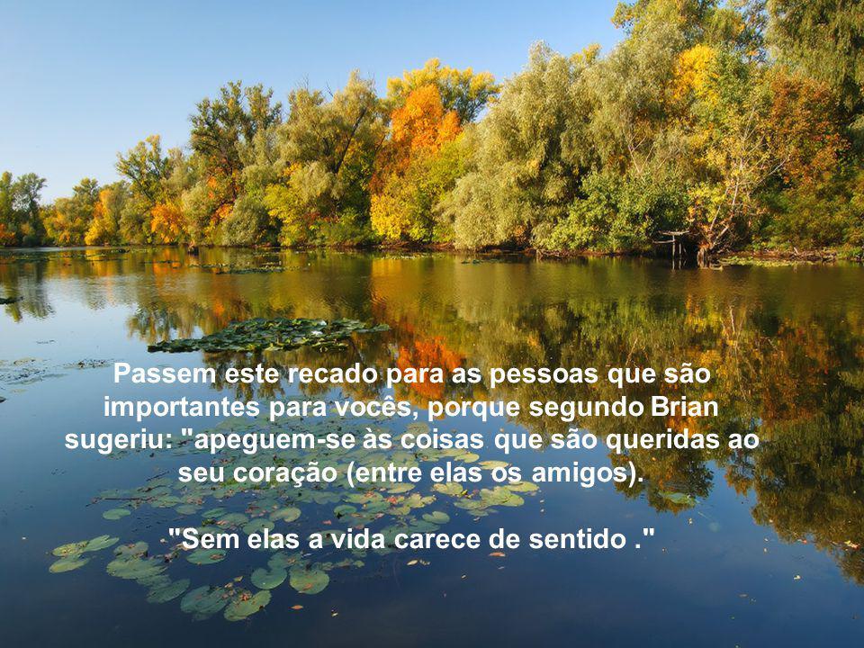 Passem este recado para as pessoas que são importantes para vocês, porque segundo Brian sugeriu: apeguem-se às coisas que são queridas ao seu coração (entre elas os amigos).