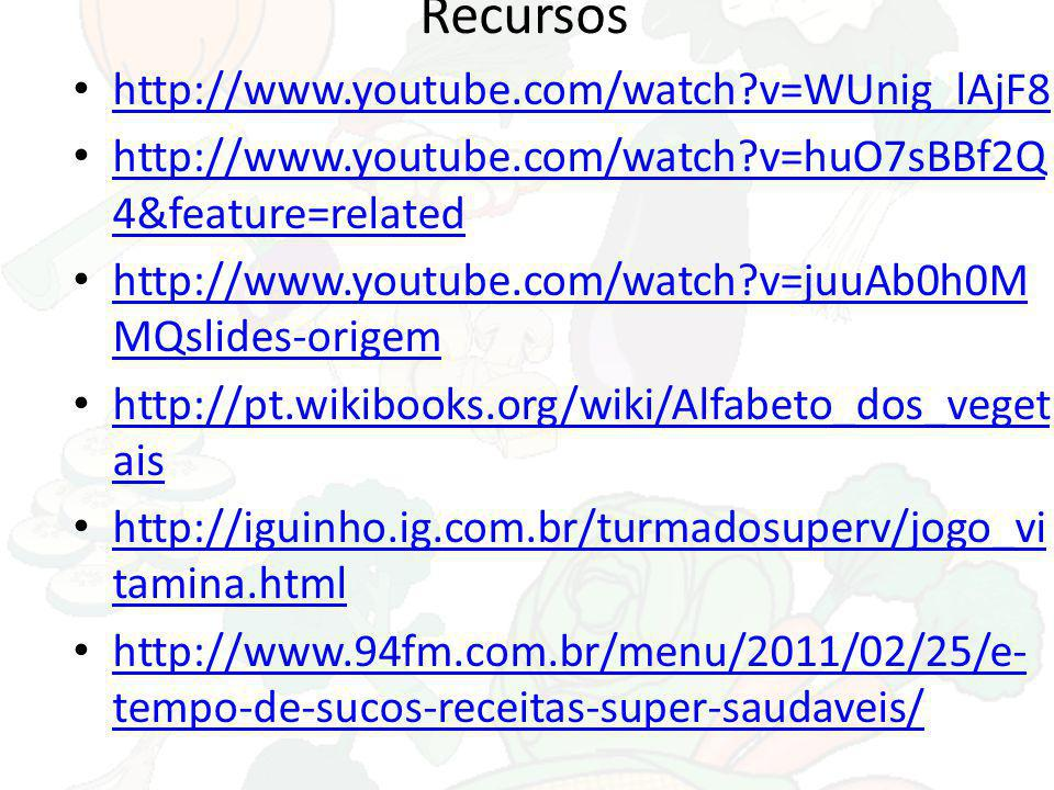 Recursos http://www.youtube.com/watch v=WUnig_lAjF8