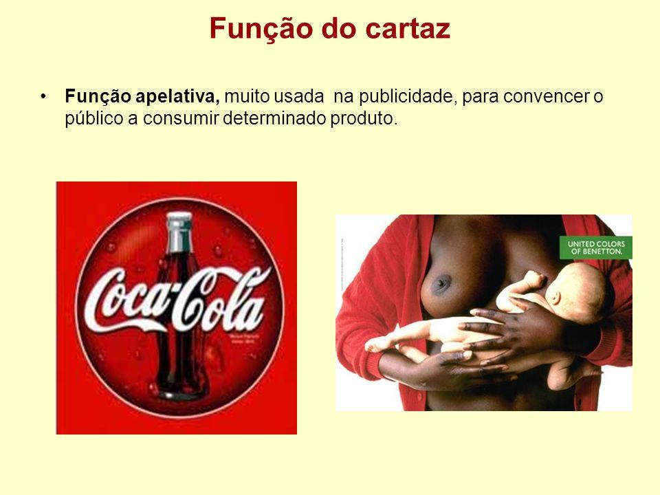 Função do cartaz Função apelativa, muito usada na publicidade, para convencer o público a consumir determinado produto.
