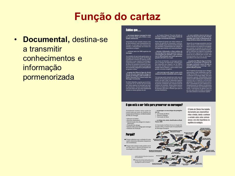 Função do cartaz Documental, destina-se a transmitir conhecimentos e informação pormenorizada