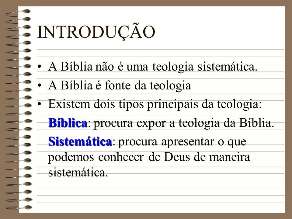 INTRODUÇÃO A Bíblia não é uma teologia sistemática.