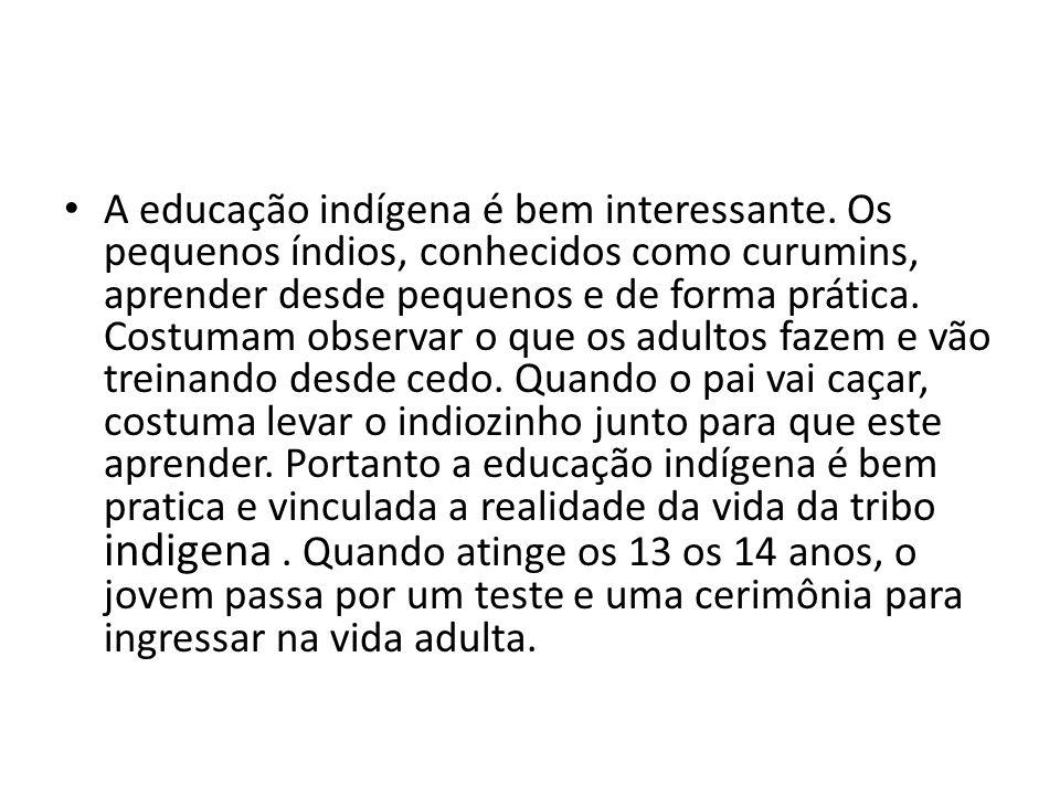 A educação indígena é bem interessante