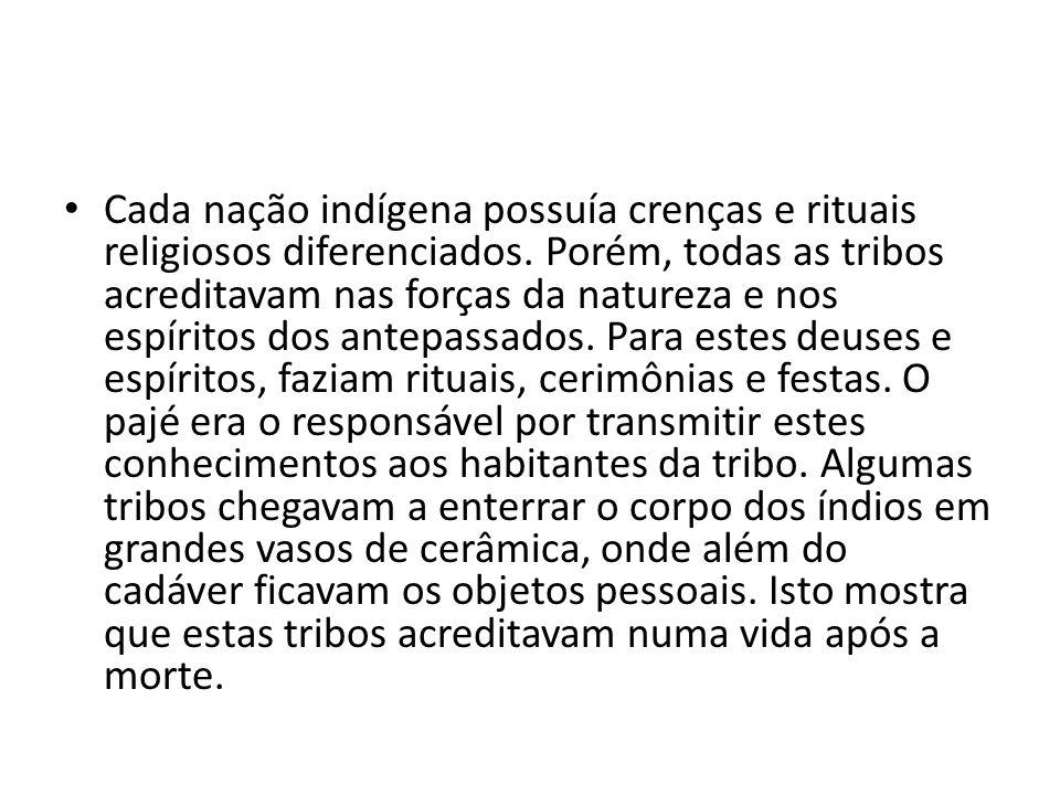 Cada nação indígena possuía crenças e rituais religiosos diferenciados