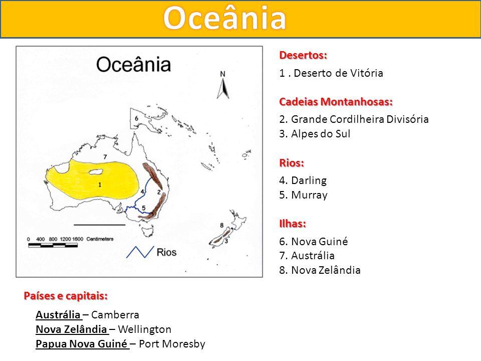 Oceânia Desertos: 1 . Deserto de Vitória Cadeias Montanhosas: