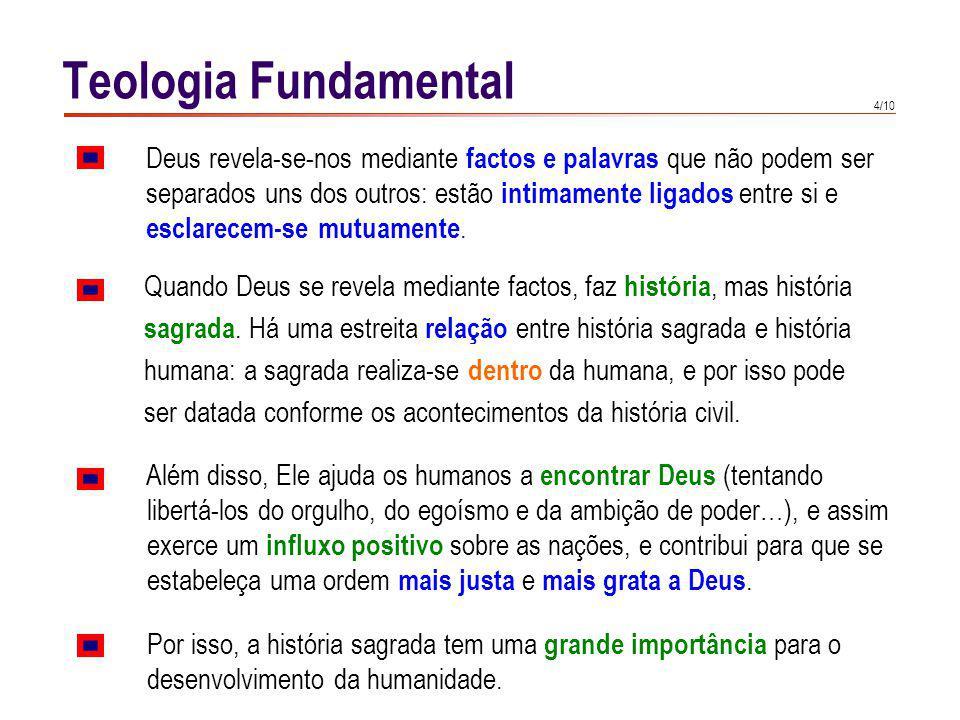 Teologia Fundamental A acção histórica de Deus não é cega, é uma acção cheia de sentido. Na história sagrada revela-se.