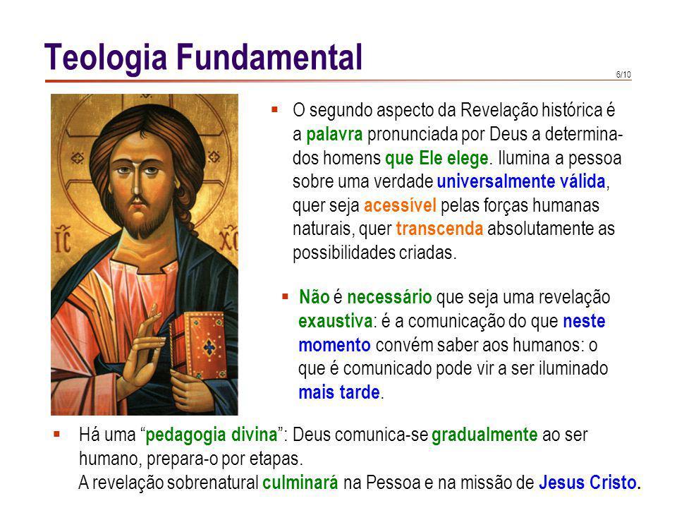 Teologia Fundamental Ao dirigir-se Deus ao homem, não se limita a transmitir alguma coisa com palavras e obras, mas entrega-se a si mesmo a nós.