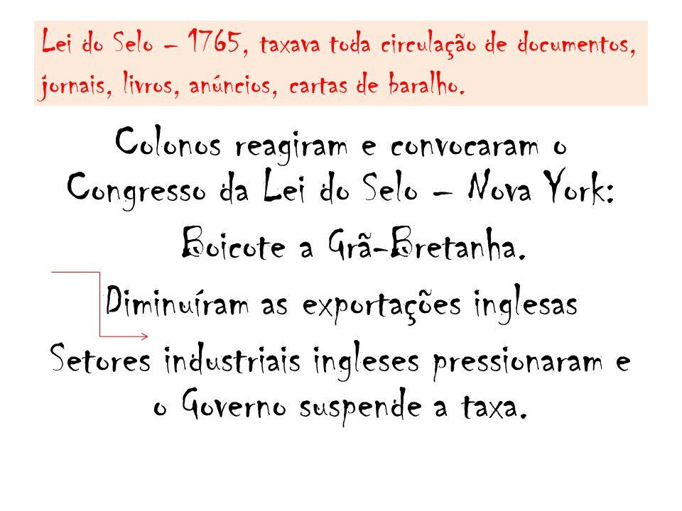 Lei do Selo – 1765, taxava toda circulação de documentos, jornais, livros, anúncios, cartas de baralho.