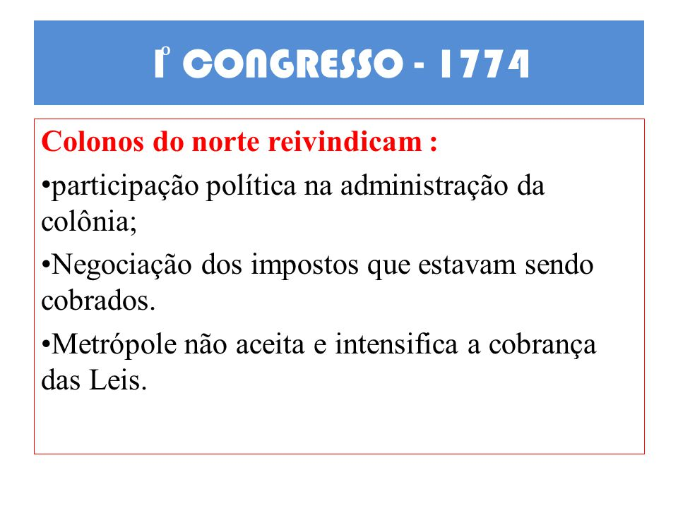 1ͦ CONGRESSO - 1774 Colonos do norte reivindicam :