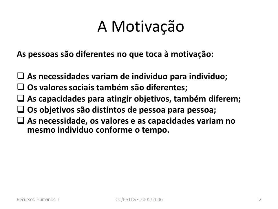 A Motivação As pessoas são diferentes no que toca à motivação: