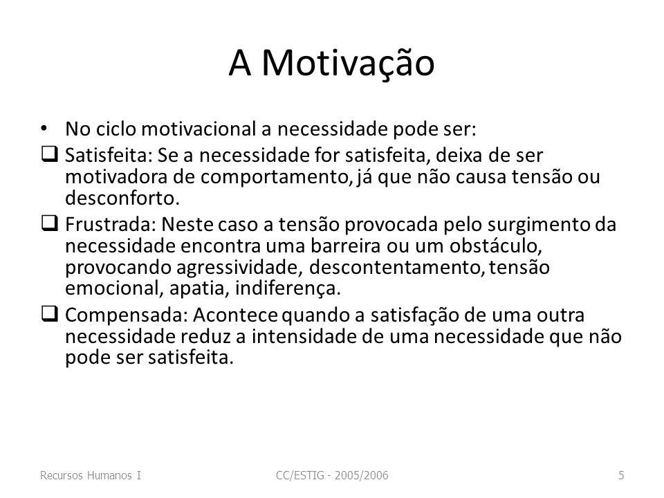 A Motivação No ciclo motivacional a necessidade pode ser: