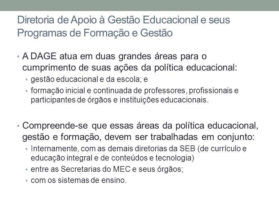 Diretoria de Apoio à Gestão Educacional e seus Programas de Formação e Gestão