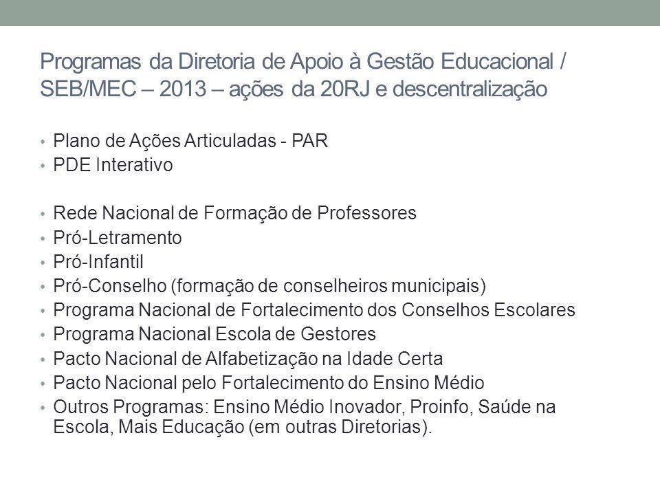 Programas da Diretoria de Apoio à Gestão Educacional / SEB/MEC – 2013 – ações da 20RJ e descentralização