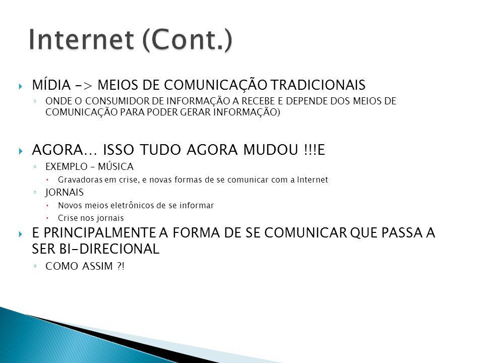 Internet (Cont.) AGORA… ISSO TUDO AGORA MUDOU !!!E
