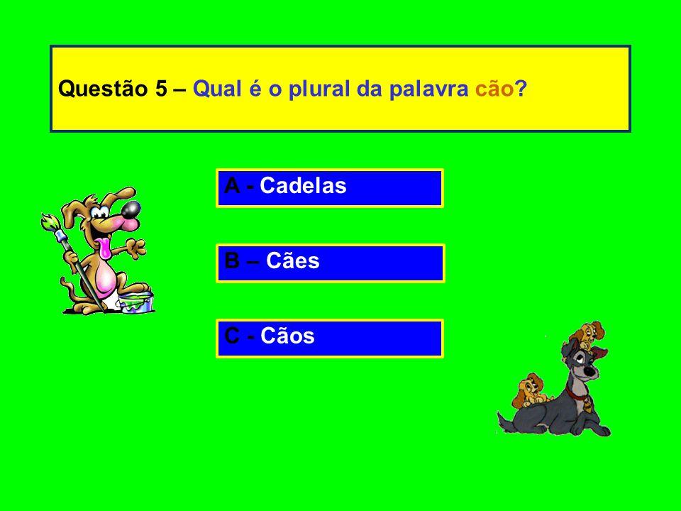 Questão 5 – Qual é o plural da palavra cão