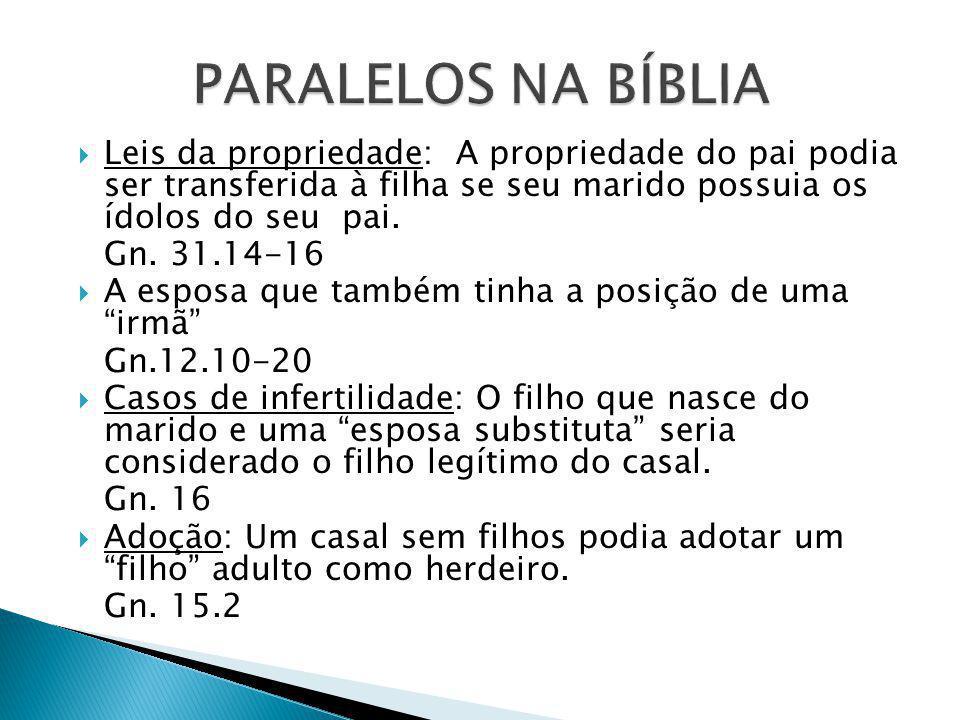 PARALELOS NA BÍBLIA Leis da propriedade: A propriedade do pai podia ser transferida à filha se seu marido possuia os ídolos do seu pai.