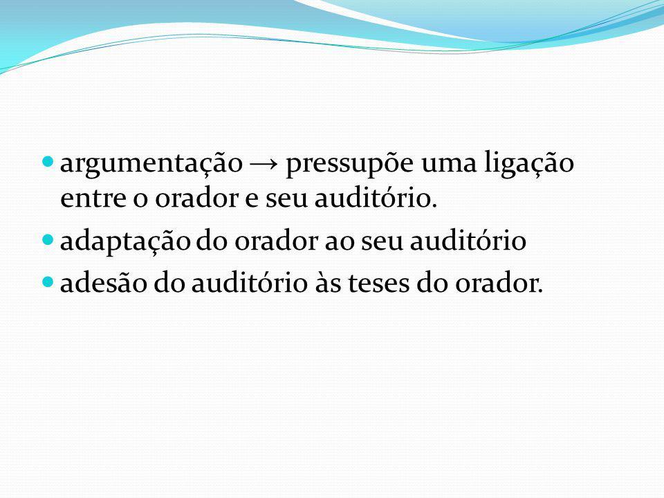 argumentação → pressupõe uma ligação entre o orador e seu auditório.