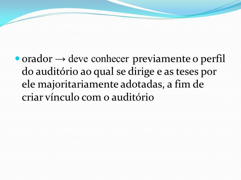 orador → deve conhecer previamente o perfil do auditório ao qual se dirige e as teses por ele majoritariamente adotadas, a fim de criar vínculo com o auditório