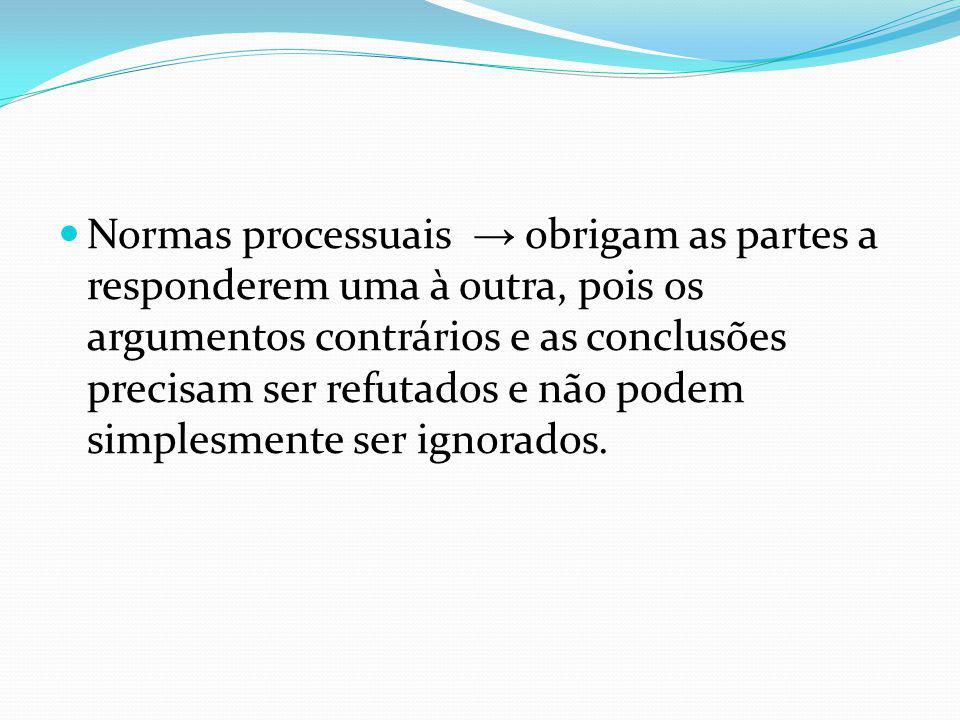Normas processuais → obrigam as partes a responderem uma à outra, pois os argumentos contrários e as conclusões precisam ser refutados e não podem simplesmente ser ignorados.