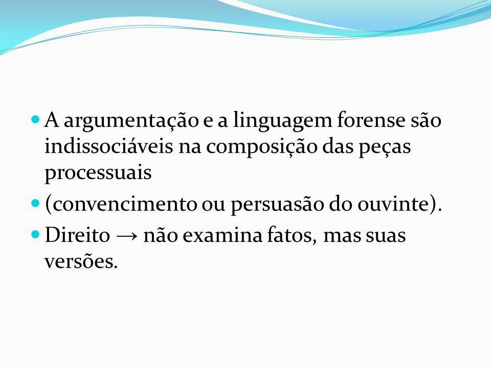 A argumentação e a linguagem forense são indissociáveis na composição das peças processuais