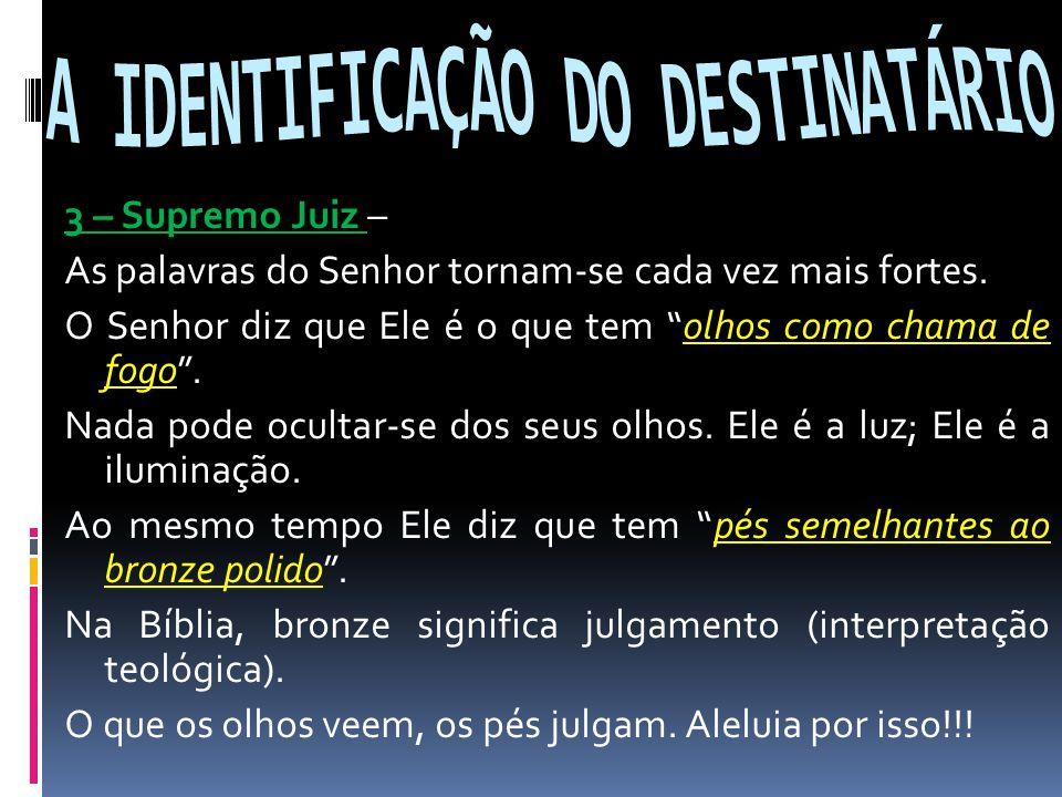 A IDENTIFICAÇÃO DO DESTINATÁRIO