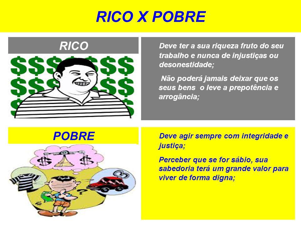 RICO X POBRE RICO. Deve ter a sua riqueza fruto do seu trabalho e nunca de injustiças ou desonestidade;