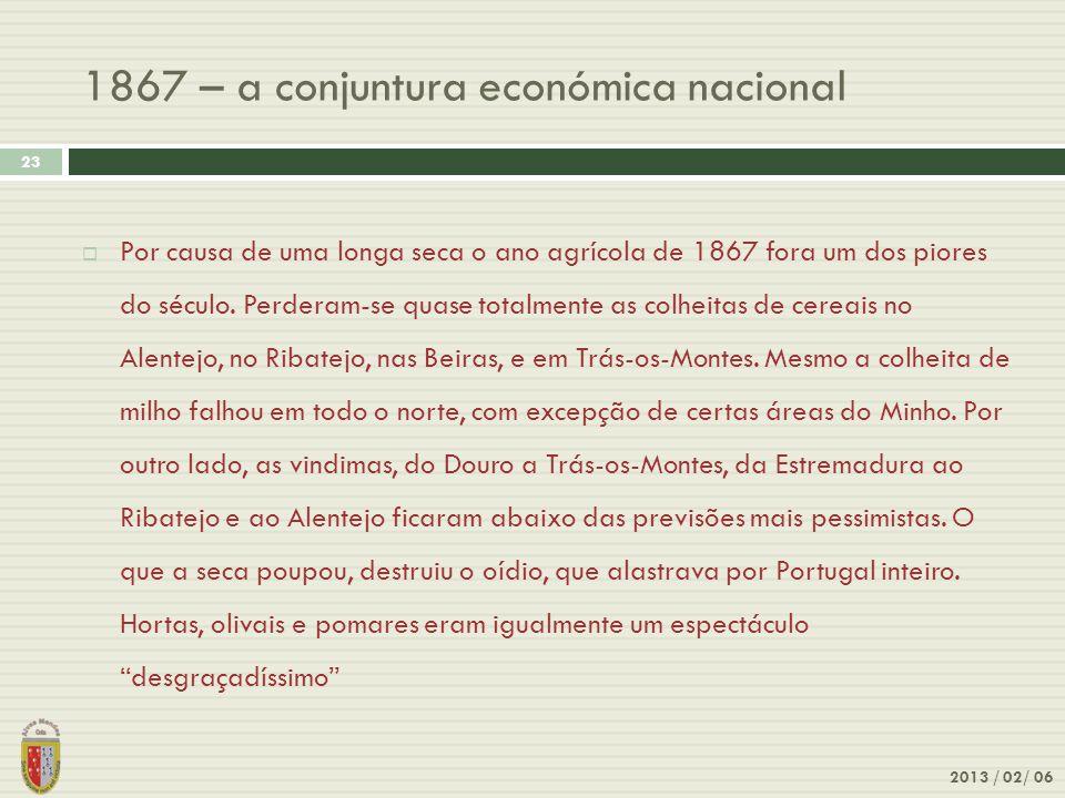1867 – a conjuntura económica nacional