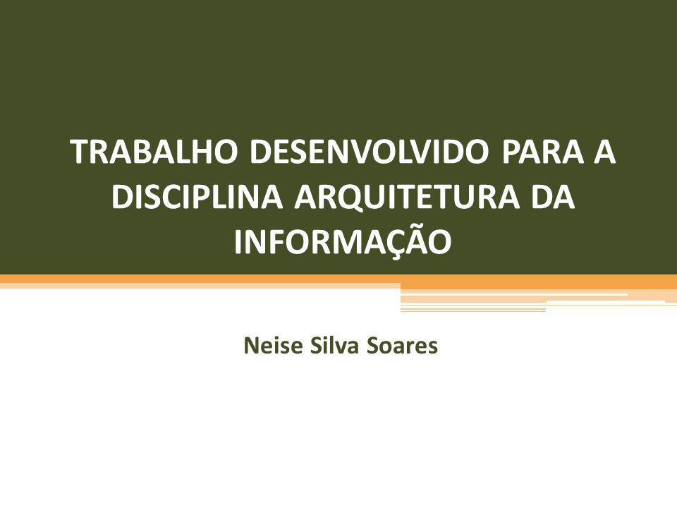 TRABALHO DESENVOLVIDO PARA A DISCIPLINA ARQUITETURA DA INFORMAÇÃO