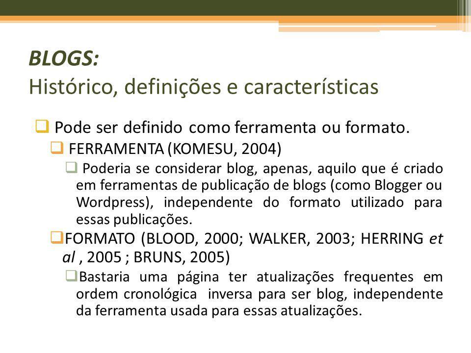 BLOGS: Histórico, definições e características