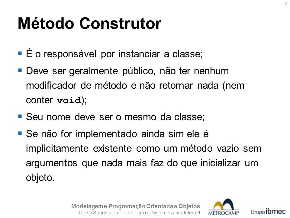 Método Construtor É o responsável por instanciar a classe;