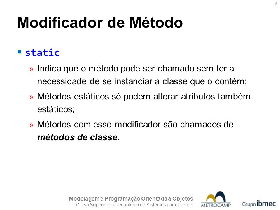 Modificador de Método static