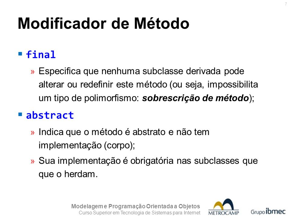 Modificador de Método final abstract