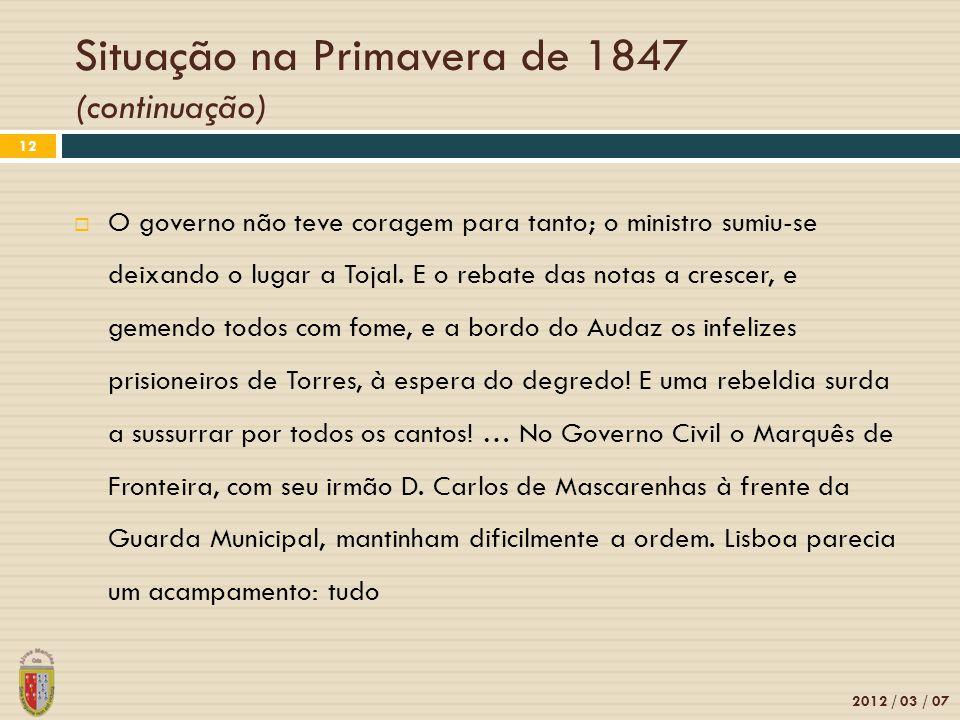 Situação na Primavera de 1847 (continuação)