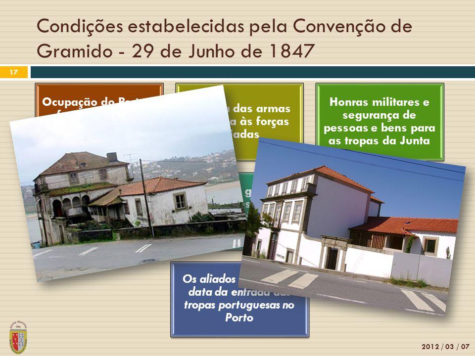 Condições estabelecidas pela Convenção de Gramido - 29 de Junho de 1847