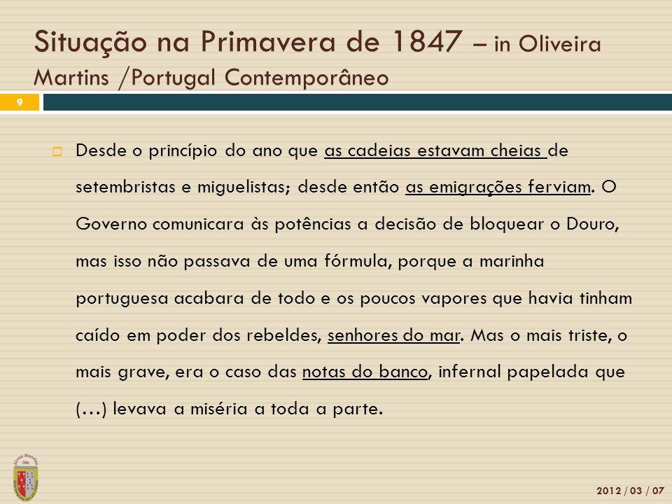 Situação na Primavera de 1847 – in Oliveira Martins /Portugal Contemporâneo