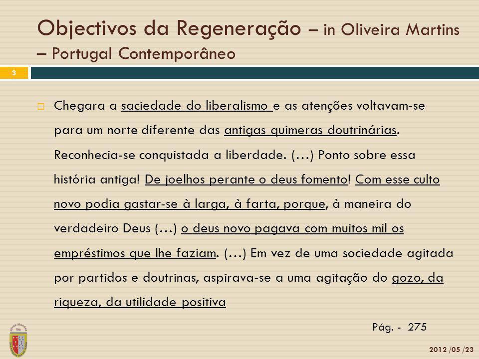 Objectivos da Regeneração – in Oliveira Martins – Portugal Contemporâneo