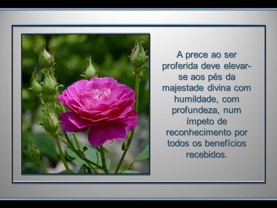 A prece ao ser proferida deve elevar-se aos pés da majestade divina com humildade, com profundeza, num ímpeto de reconhecimento por todos os benefícios recebidos.