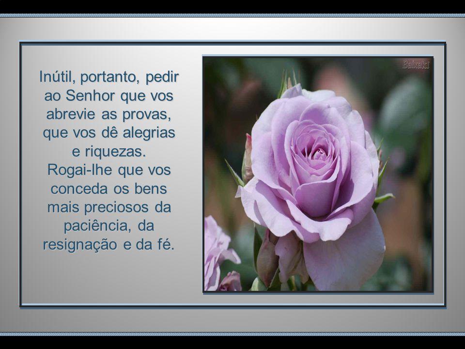 Inútil, portanto, pedir ao Senhor que vos abrevie as provas, que vos dê alegrias e riquezas.