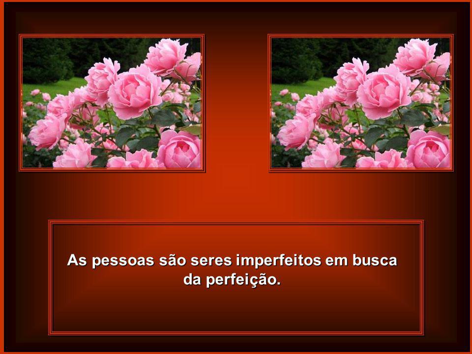 As pessoas são seres imperfeitos em busca da perfeição.