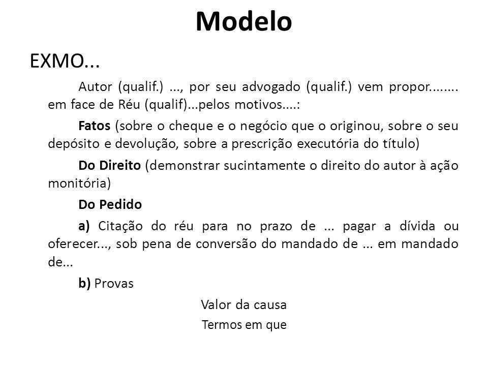 Modelo EXMO... Autor (qualif.) ..., por seu advogado (qualif.) vem propor........ em face de Réu (qualif)...pelos motivos....: