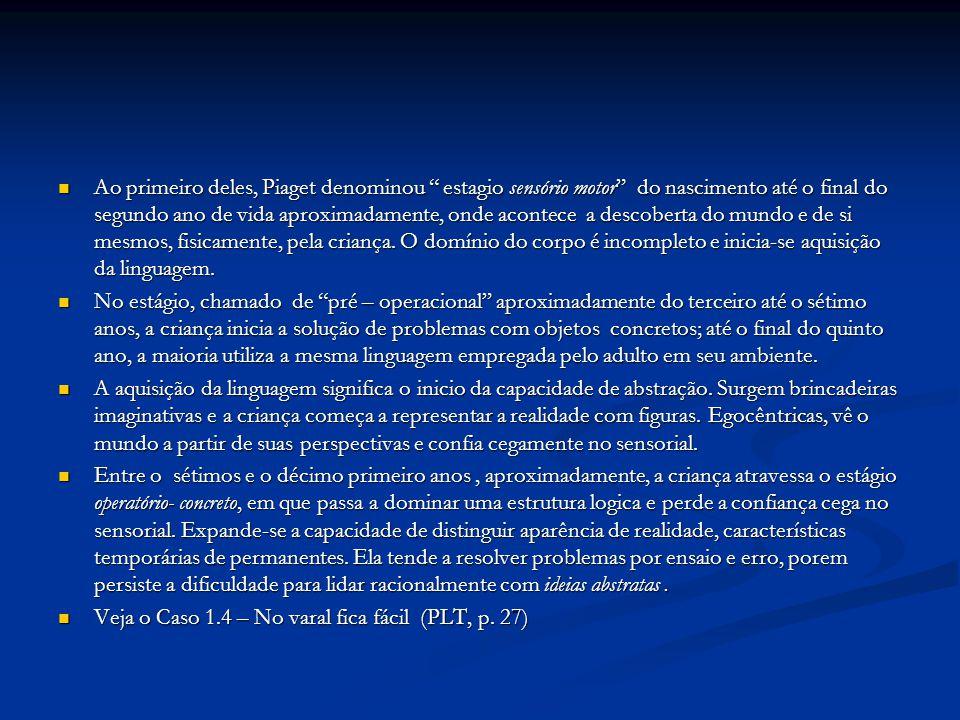 Ao primeiro deles, Piaget denominou estagio sensório motor do nascimento até o final do segundo ano de vida aproximadamente, onde acontece a descoberta do mundo e de si mesmos, fisicamente, pela criança. O domínio do corpo é incompleto e inicia-se aquisição da linguagem.
